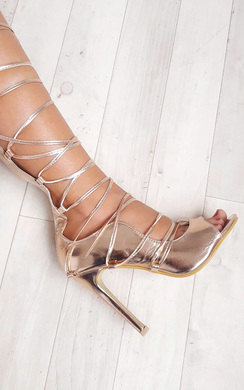View the Saskia Metallic Lace Up Heels online at iKrush