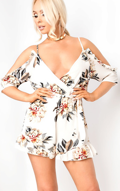 View the Rozeena Cold-shoulder Floral Playsuit online at iKrush