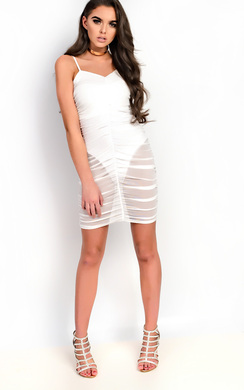 View the Ariel Mesh Ruched Mini Dress online at iKrush