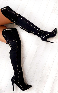 View the Shia Studded Thigh High Boots  online at iKrush