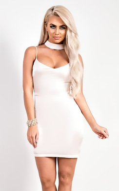 View the Tara Satin Choker Neck Dress online at iKrush