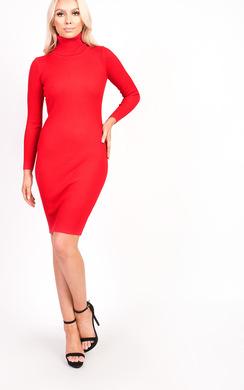 View the Jazmin High Neck Longline Jumper Dress online at iKrush