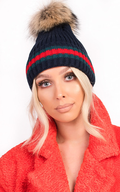 View the Emile Faux Fur Stripe Pom pom Hat online at iKrush