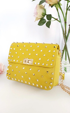 View the Liah Quilted Gold Studded Shoulder Bags online at iKrush
