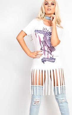 View the Dora Slogan Tassel T-Shirt Dress online at iKrush