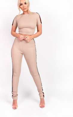 View the Talia Striped Stretch Ribbed Co-ord online at iKrush