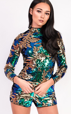 View the Melissa Sequin High Neck Playsuit online at iKrush