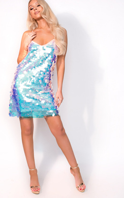 View the Ayla Holographic Strappy Dress online at iKrush