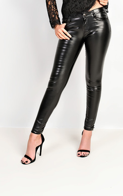 View the Krishna Faux Leather Trousers online at iKrush