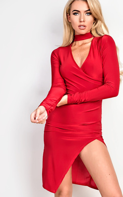 View the Evy Choker Gathered Bodycon Dress online at iKrush