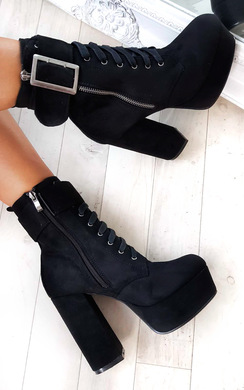 View the Bey Faux Suede Platform Tie Up Boots online at iKrush