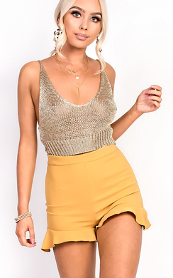 View the Daliah Gold Metallic Knitted Crop Top online at iKrush