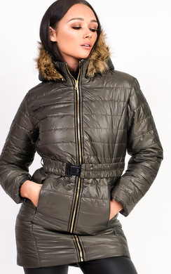 View the Ella Padded Faux Fur Hooded Belted Jacket online at iKrush