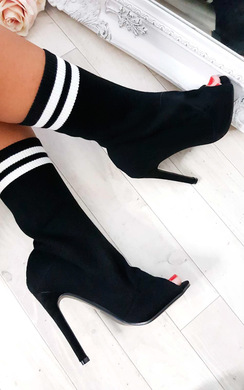 View the Amara Peep Toe Stiletto Sock Boots online at iKrush
