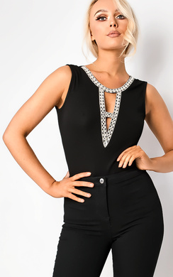 View the Kara Silver Embellished Bodysuit online at iKrush