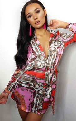 View the Kyra Paisley Print Satin Shirt Dress online at iKrush