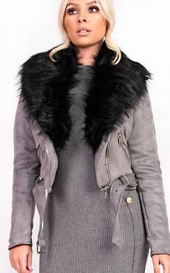 View the Brogan Faux Fur Suede Biker Jacket online at iKrush