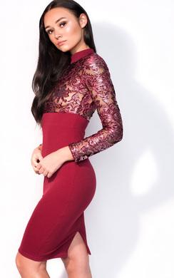 View the Lola Midi Metallic Print Long Sleeve Dress online at iKrush