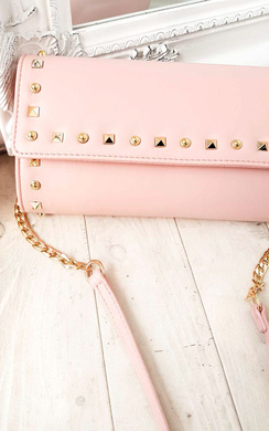 View the Rosa Gold Studded Clutch Bag online at iKrush
