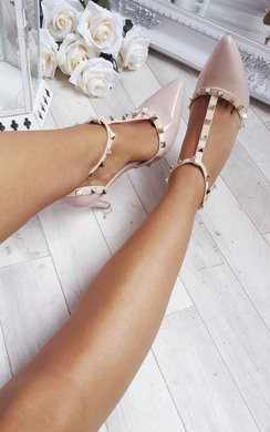 View the Valeria Patent T-Bar Studded Court Heels online at iKrush