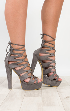 View the Olympia Faux Suede Platform Heels online at iKrush