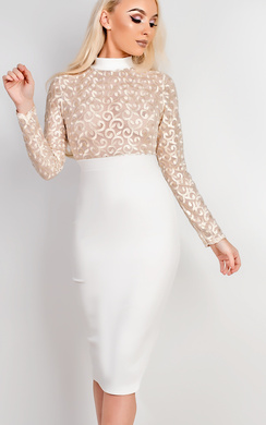 View the Sheryl Lace Bodycon Dress online at iKrush