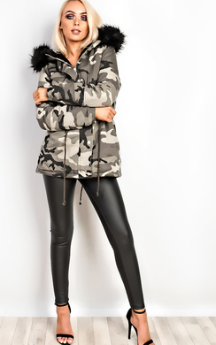 View the Kristina Camo Faux Fur Parka Jacket online at iKrush