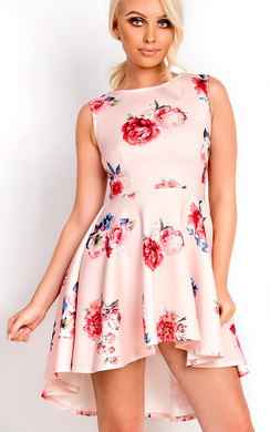 View the Annaleise Floral Dip Hem Skater Dress online at iKrush