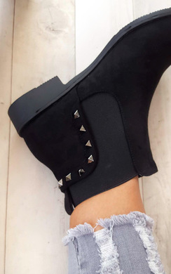 View the Cassie Studded Stretch Faux Suede Ankle Boots online at iKrush