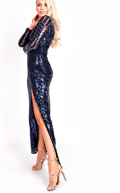 View the Olivia Sequin Plunge Evening Maxi Dress online at iKrush