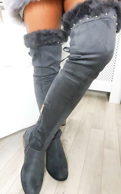View the Carris Studded Faux Suede Fluffy Tassel Knee High Boots online at iKrush