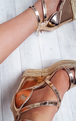 View the Annie Rose Gold Strappy Wedges online at iKrush
