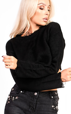 View the Holly Knitted Distressed Cropped Jumper online at iKrush