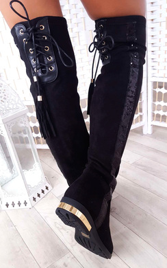 View the Amy Faux Suede Sequin Lace Up Knee High Boots online at iKrush