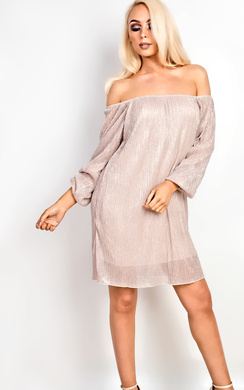 View the Selena Off Shoulder Ribbed Shift Dress  online at iKrush