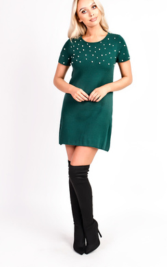 View the Emmi Short Sleeve Embellished Mini Dress online at iKrush