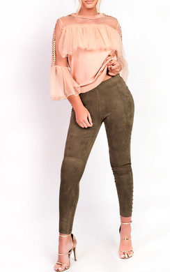 View the Paige High Waist Beaded Side Faux Suede Leggings online at iKrush