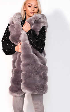 View the Jena Faux Fur Hooded Waistcoat online at iKrush