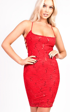 View the Kelsey Strappy Lace Sequin Bodycon Dress online at iKrush
