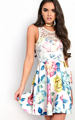 View the Fely Floral Lace Skater Dress online at iKrush