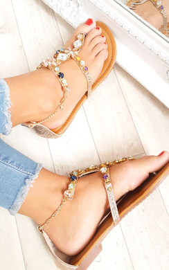 View the Gomez Crystal Embellished Sandals online at iKrush