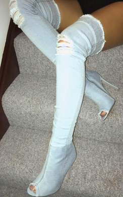 View the Ciara Denim Thigh High Boots  online at iKrush