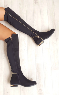 View the Samia Faux Suede Gold Zip Stretch Knee High Boots online at iKrush