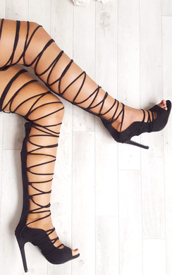 View the Saskia Faux Suede Lace Up Heels online at iKrush