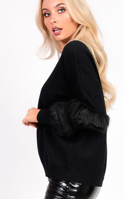 View the Fifi Faux Fur Panel Knitted Jumper online at iKrush