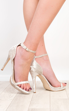 View the Aleah Crushed Velvet Barely There Heels online at iKrush