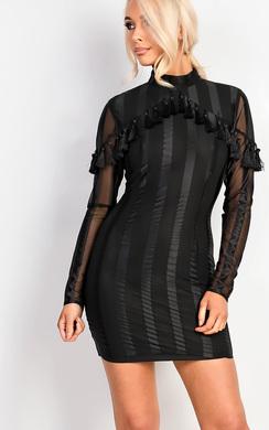 View the Carletta Bodycon Stripe Tassel Dress online at iKrush