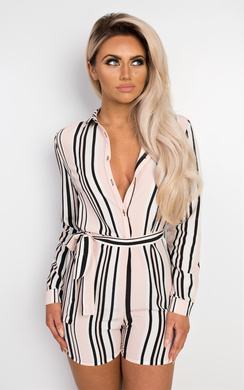 View the Carlysle Belted Striped Playsuit online at iKrush