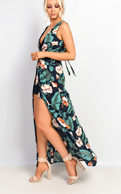 View the Vanessa Halter Neck Wrap Floral Maxi Dress online at iKrush