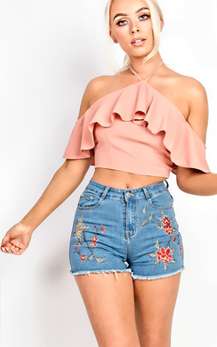 View the Gloria High Neck Cold Shoulder Frill Crop Top online at iKrush